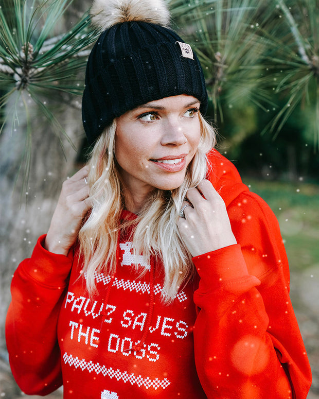 Pawz Holiday Sweater Print Red Hoodie