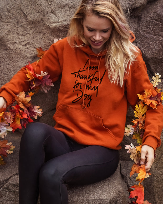 Pawz Thankful for My Dog Burnt Orange Hoodie - Pawz