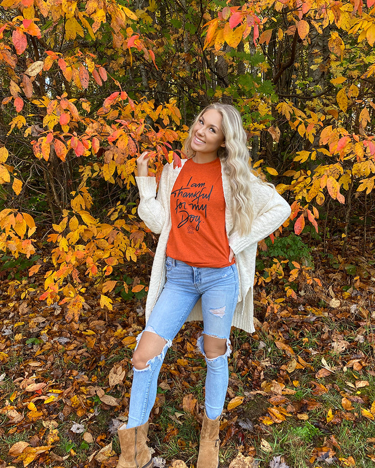 Pawz Thankful for My Dog Antique Orange Tee - Pawz