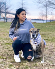 Stay Pawzitive Grey Cropped Hoodie - Pawz