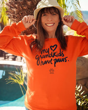 Pawz My Grandkids have Paws Black Print Neon Orange Crewneck - Pawz