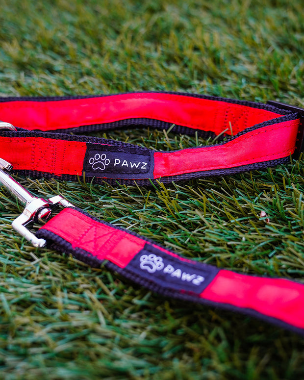 Pawz Red & Black Dog Collar & Leash Set - Pawz