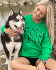 Pawz Simple Dog Mom Black Print Green Crewneck - Pawz