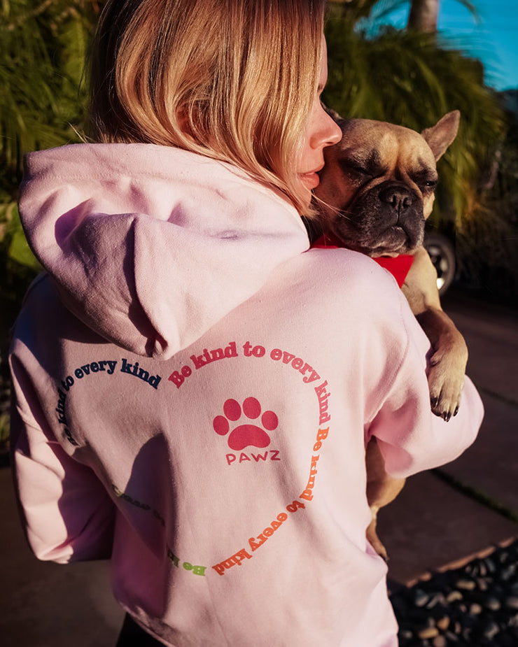 Pawz Be Kind to Every Kind Open Heart Light Pink Hoodie - Pawz