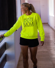 Pawz Simple Dog Mom Black Print Neon Green Crewneck - Pawz