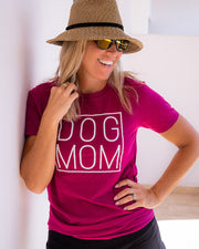 Pawz Simple Dog Mom White Print Berry Tee - Pawz