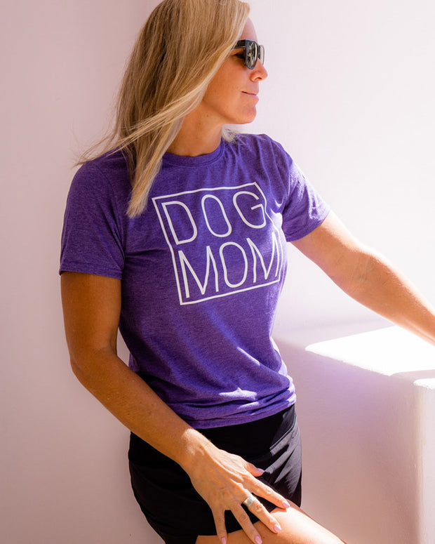 Pawz Simple Dog Mom White Front Print Heather Purple Tee - Pawz
