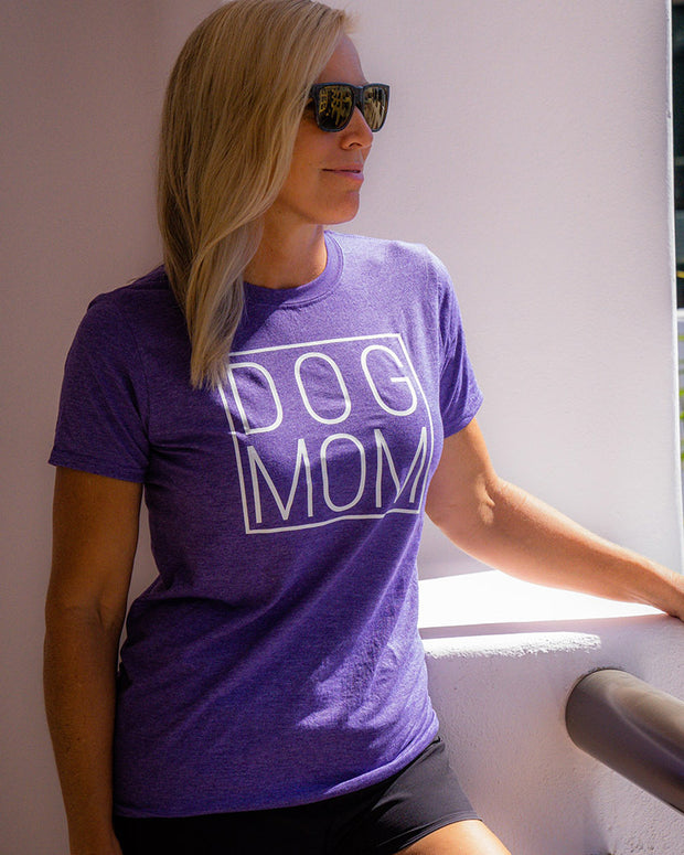 Pawz Simple Dog Mom White Front Print Heather Purple Tee