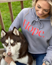 Pawz Grey  Red Hope  Print Copped Hoodie - Pawz