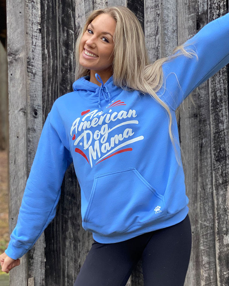 Pawz An American Dog Mama Carolina Blue Hoodie - Pawz