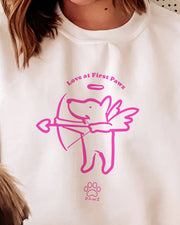 Love at  First Pawz Valentine Print White Crewneck - Pawz