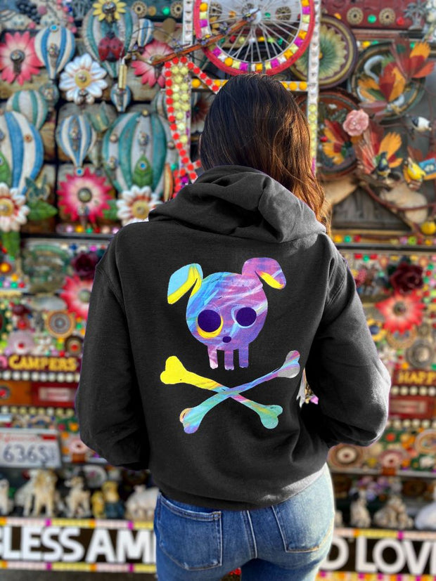 Pawz Watercolor Skull & Bones Black Zip Up Hoodie