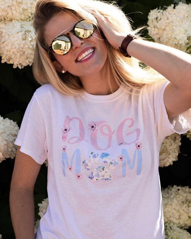 White Floral Dog Mom Tee - Pawz