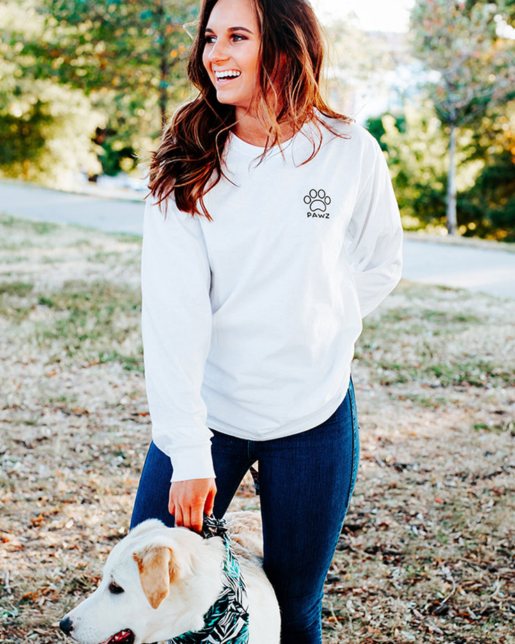 Pawz Palm Paw Print White Long Sleeve - Pawz