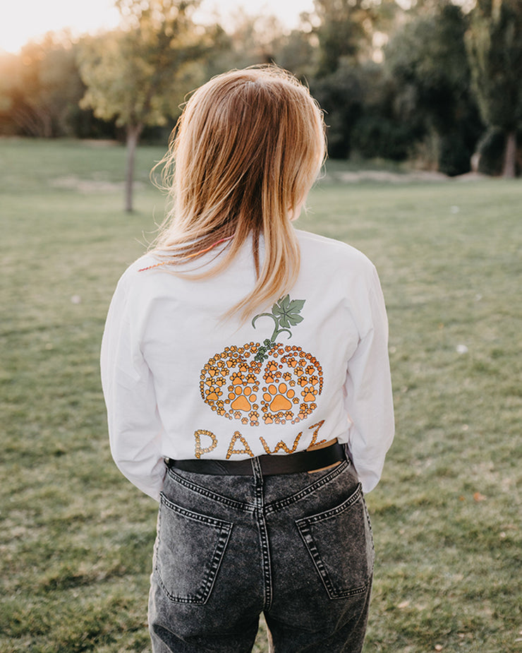 White Tiny Pawz Pumpkin Back Print Long Sleeve - Pawz