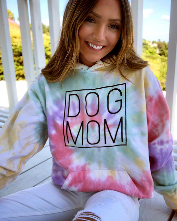 Zen Rainbow Tie Dye Black Simple Dog Mom Hoodie - Pawz