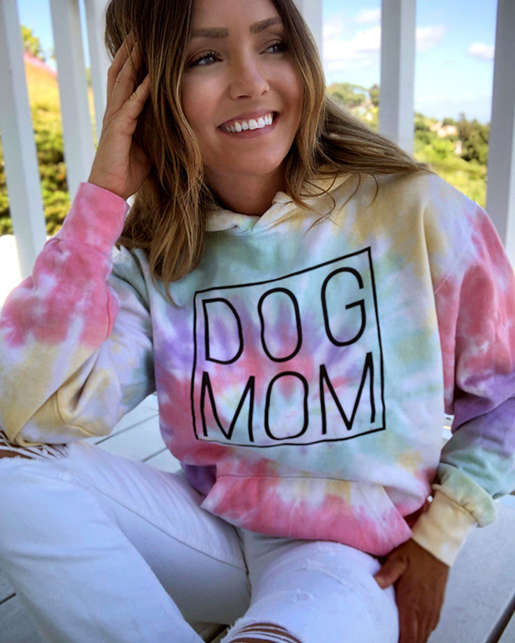Pawz Zen Rainbow Tie Dye Black Simple Dog Mom Hoodie - Pawz