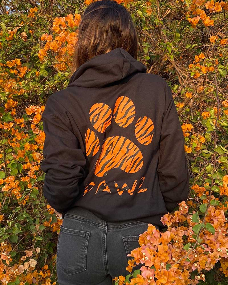Pawz Tiger Print Black Zip Up Hoodie - Pawz