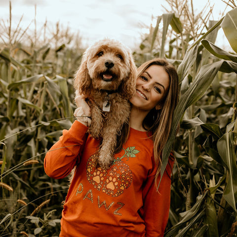 Long Sleeve Burnt Orange Tiny Pawz Pumpkin Front Print - Pawz