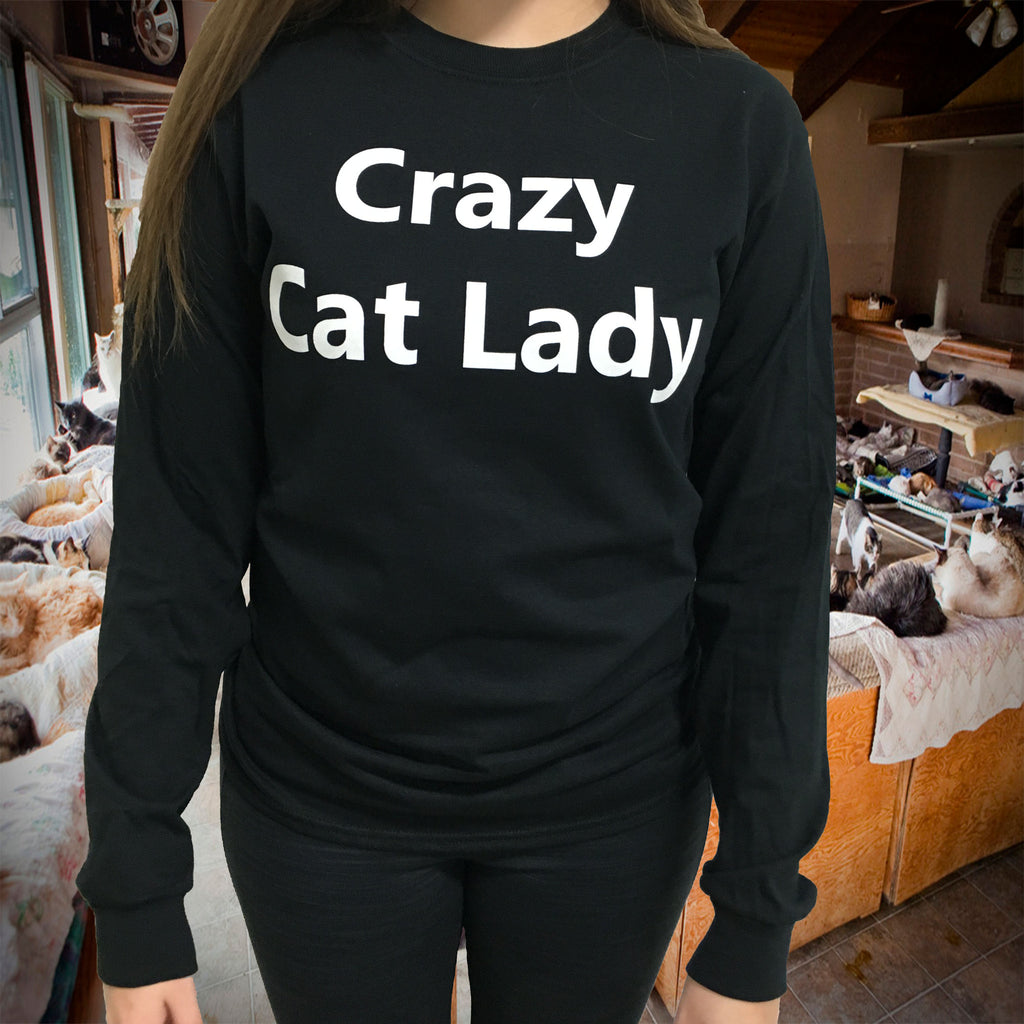 Long Sleeve Black Crazy Cat Lady Shirt
