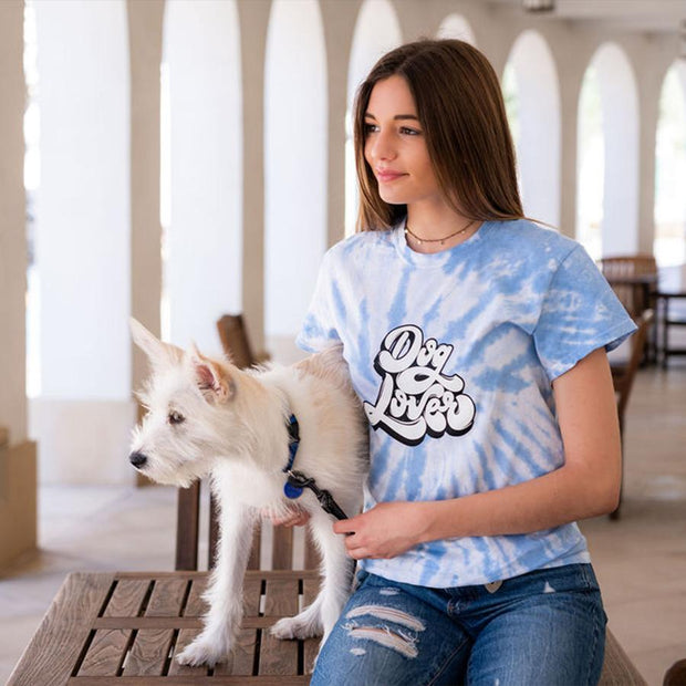 Pawz Spider Blue Tie Dye Dog Lover Tee - Pawz