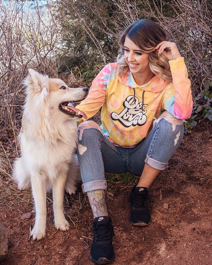 Pawz Rainbow Sherbert Tie Dye Dog Lover Light Hoodie - Pawz