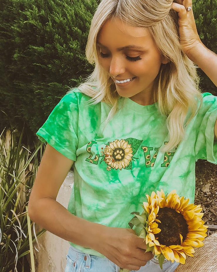 Pawz Mint Tie Dye Love Sunflower Tee - Pawz