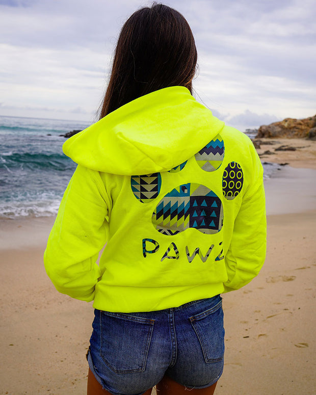 Pawz Geometric Art Neon Green Zip Up - Pawz