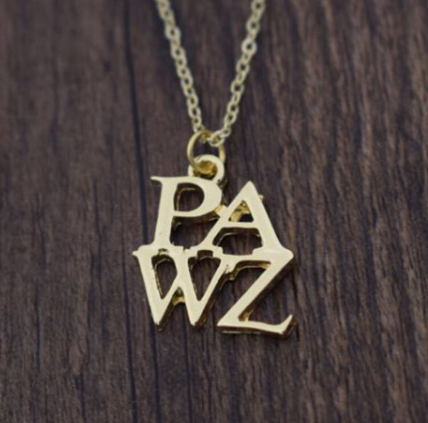 Gold PAWZ lettering necklace