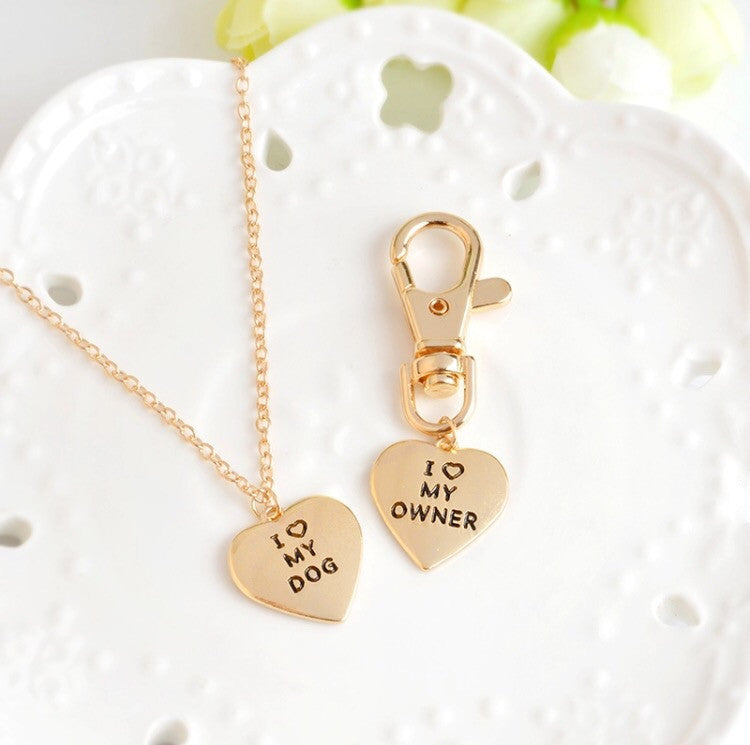 2pc I love my dog necklace set