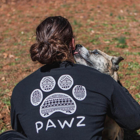 Long Sleeve Men's Black Tribal White Print - Pawz