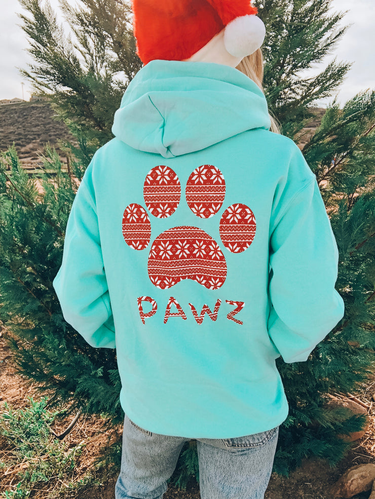 Pawz Knitted Star Pattern Cool Mint Hoodie - Pawz