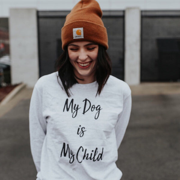 Long Sleeve Ash My Dog is My Child Print - Pawz
