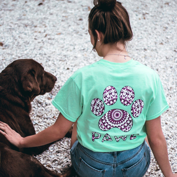 Short Sleeve Mint Kaleidoscope Print Tee - Pawz