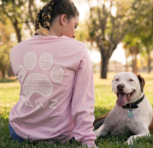 Pawz White Tribal Print Grapefruit Long Sleeve - Pawz