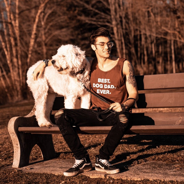 Men's Maroon Best Dog Dad Ever White Print Tank - Pawz