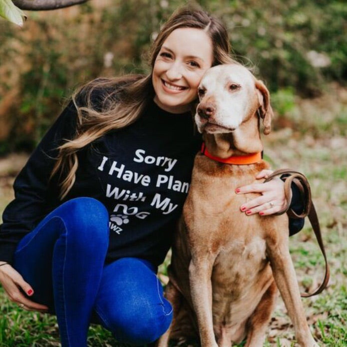 "Long Sleeve Black ""Sorry I Have Plans With My Dog"" - Pawz"