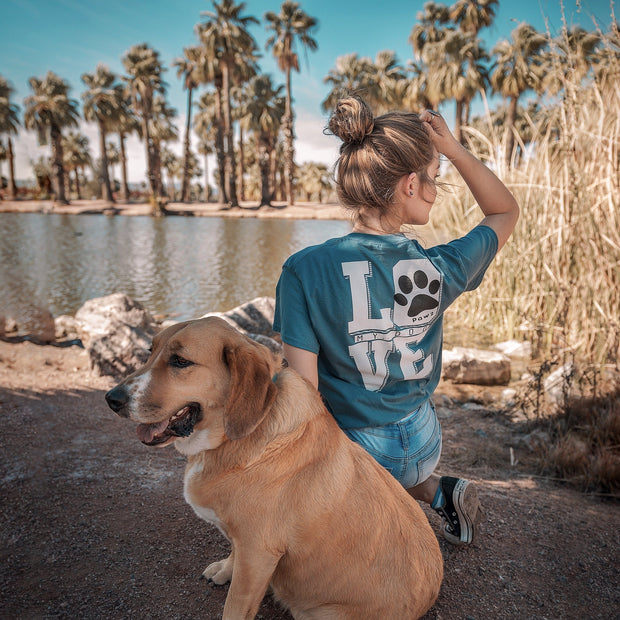 Short Sleeve Teal Love My Dog White Print - Pawz