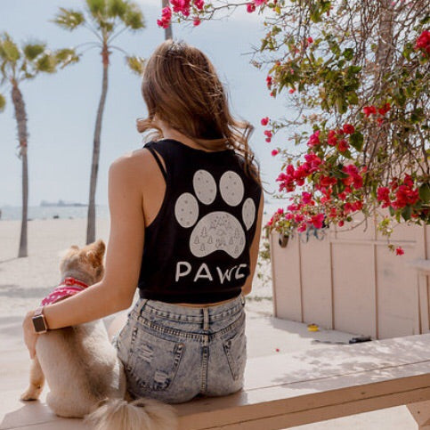 Black Scenic White Print Tank Top - Pawz