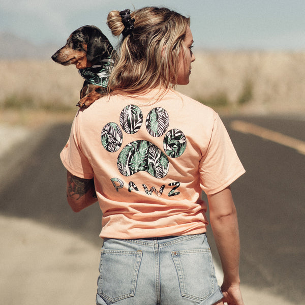 Short Sleeve Peach Palm Paw Print - Pawz