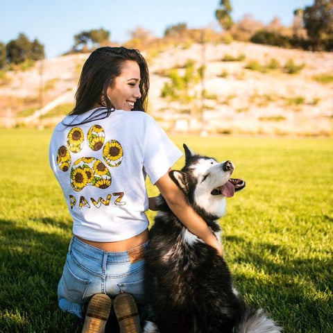 Short Sleeve White Sunflower Print - Pawz