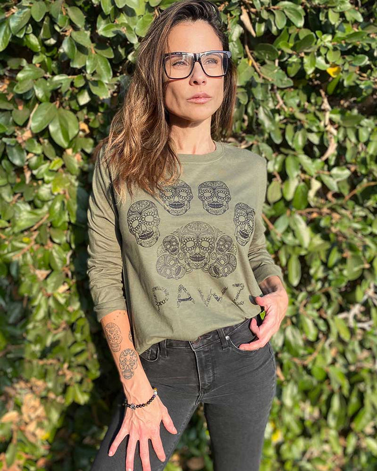 Pawz Sugar Skull Military Green Lightweight Long Sleeve