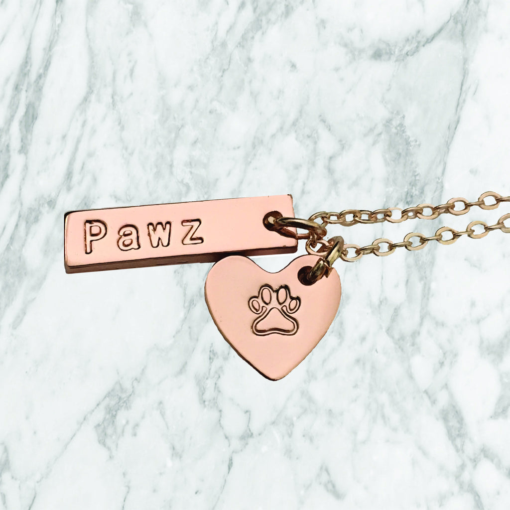 Rose Gold Pawz Charm Necklace