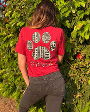 Pawz Boho Tribal Red V-Neck Short Sleeve Tee - Pawz