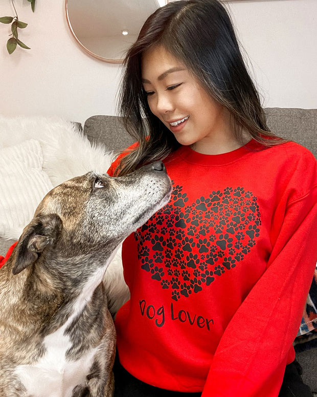 Pawz Heart Dog Lover Red Crewneck - Pawz
