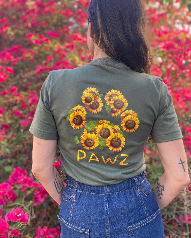 Pawz Sunflower Bouquet Military Green V-Neck Short Sleeve Tee - Pawz