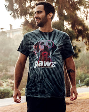 Pawz Men's Black Tie Dye Neon Dog Sketch Front Print Tee - Pawz