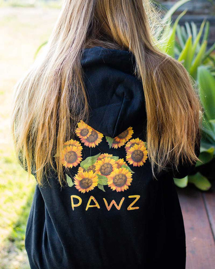 Pawz Sunflower Bouquet Black Hoodie - Pawz