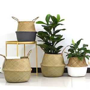Handmade Storage Baskets Foldable Laundry Patchwork Wicker Rattan Hanging Flower Pot Planter Woven