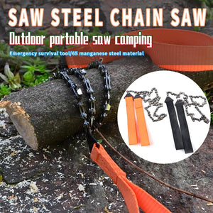24 Inch Portable Outdoor Survival Hand Zipper Pocket Chain Saw Emergency Camping Survival Hand Chain Saw Mountaineering Hacksaw